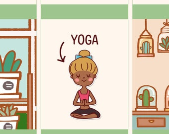 Cute yoga Stickers, Functional stickers, Cute Planner Stickers, Cute girl stickers, yoga planner stickers, workout (LOLA005)