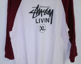 Vintage Stussy Three-quarter Sleeve Extra Large T-shirt
