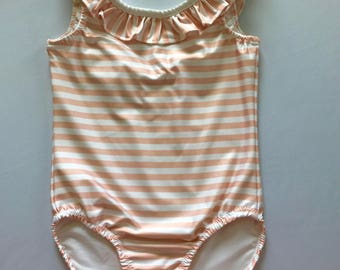 Pink and White Striped One Piece Swimsuit