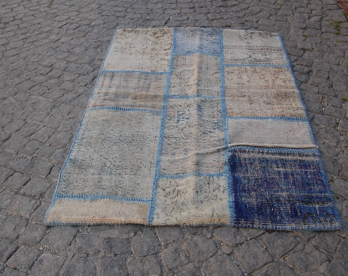Overdyed Rug, Distressed Rug, Patchworok Rug, Lavender Rug, Over dyed Rug, Vintage Turkish Rug, Boho Rug