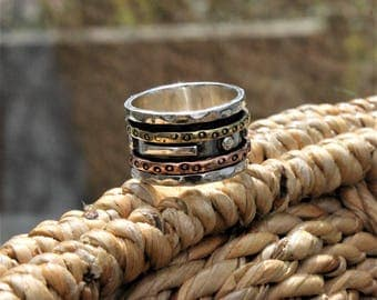 """Spinner Ring - """"Courage"""" Meditation Ring, Worry Ring, Fidget Ring"""