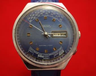 Vintage Blue RAKETA College Calendar Very RARE Soviet Mechanical Wristwatch