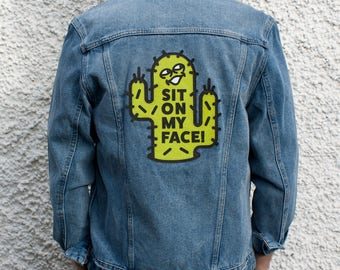 Sit On My Face Cactus Customized Denim Jacket Size M
