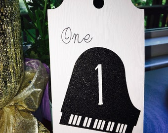 Piano or Guitar Glitter Table Numbers with Ribbon for Weddings, Concerts and Parties