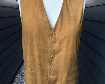 1950s Suede Leather Vest // Catalina Los Angeles Cowboy Vest // Western Vest
