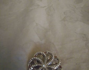 Vintage Silver Tone Marcasite Brooch - Clear and Rootbeer Rhinestones - 1960s