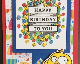 Happy Card, card for friend, birthday card, happy birthday card, handmade card