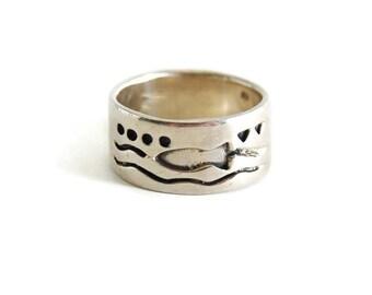 Men's Sterling Silver Ocean Motif Ring