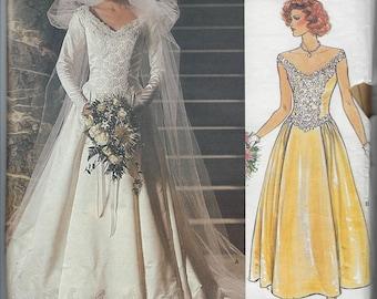 Vintage Vogue Bridal Original Sewing Pattern 1677  Wedding Bridesmaid Dress  Size  8   Uncut Factory Folded