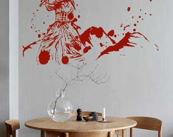 Japanese Kendo Samurai Ninja Fight Katana Blood Removable Vinyl Wall Decal