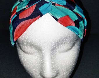 Mommy & Me Stretchy Turban Style Headband - Red and Green Leaves