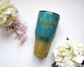 Turquoise and Sand Ombre Glitter Tumbler - Glitter Tumbler - Aqua Tumbler - Ombre Tumbler - Beach Glitter Tumbler - Glitter Yeti - Yeti