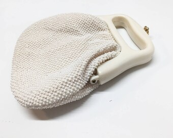 70s White Pearl Beaded Evening Coin Purse Style Handbag