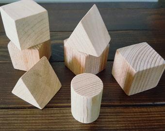 10 Assorted Wooden blocks - Wooden blocks - Baby blocks - Wooden toys - Wooden triangles - Wooden Cylinder