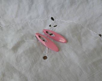 Pink Metal Oval Earrings