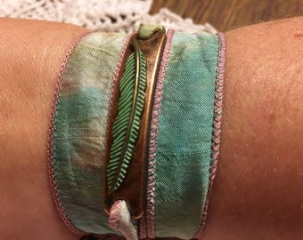 Copper feather silk wrap bracelet