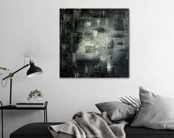 Abstract Black White Acrylic Painting on Canvas - Handmade Medium Size Contemporary Art - Modern Textured Wall Art - Living room Home decor