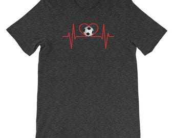 Soccer Heartbeat Soccer Player Fan Practice Soccer Coach Soccer Mom College Graduation High School T Shirt