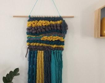 "XL wall weaving ""after the rain..."""
