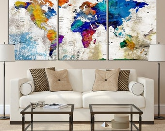 World Map Canvas Etsy - World map canvas