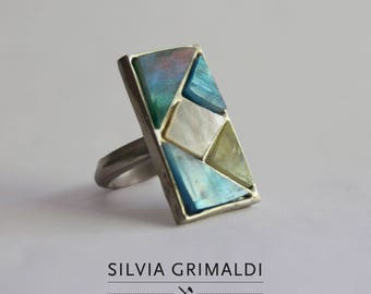 Extra small silver geometric ring