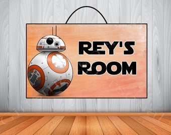 Personalized BB-8 Star Wars Sign, BB-8 Star Wars Personalized Wooden Name Sign, Bb-8 Star Wars Room Decor,  BB-8 Birthday Party