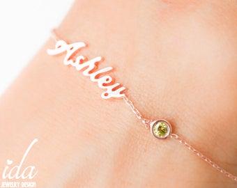 Custom Name Bracelet - Personalized Name Bracelet - Birthstone - Gold Name Bracelet - Bracelet With Name - Bridesmaid Gift - Jewelry