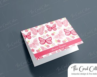Personalized Notecard, Custom Stationery, Folded Notecard, Foldover Notecard, Thoughtful, Gift, Butterflies, Cards for Girls, Blank card