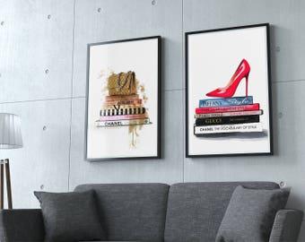 Set of 2 fashion print. Fashion shoes, Coco Chanel bag, fashion books. Wall art. Watercolor fashion posters, fashion decor. Free shipping.