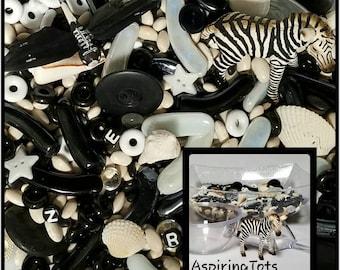 Schleich Zebra Sensory Bowl / Sensory Bin / Reggio Emilia/ Preschool / Montessori Monochrome /Teacher Resource / Reggio Inspired Loose Parts