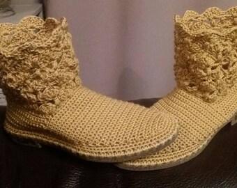 Handmade crochet boots