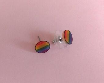 Rainbow Pride Round Stud Earrings - gay, lesbian, queer