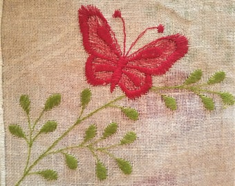 Pure raw linen tent with butterfly embroidery and hem scalloped cm 64 x 60
