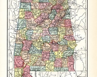Map of Alabama. Original Antique print from the Ninth Edition of the Encyclopaedia Britannica (1875-1889).