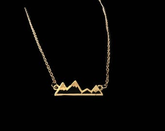 Winter Mountain Necklace Gold or Silver Snowboarding Skiing Shredding Gnar Fresh Powder mountain Range Necklace Gold