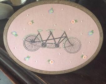 Tandem bike floral embroidery hoop