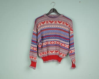 80s ugly sweater size 44 winter sweater vintage sweater ugly wool jumper red blue pullover colorful pattern sweater striped pullover