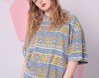 abstract print t-shirt, aztec pattern tee, geometric 80s 90s t-shirt, retro vintage tee