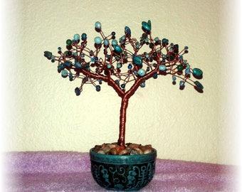 Chrysocolla Copper Wire Bonsai Tree