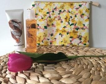 Yellow Flowers Wash Bag / Makeup Bag / Toiletry bag / Travel bag