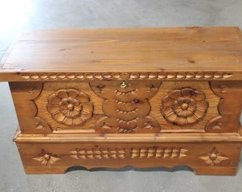 Vintage Hand Made,Carved Wooden Chest One of a Kind