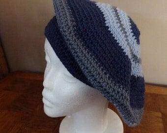 Crochet Beret, Hat, Cap, shades of blue, wool