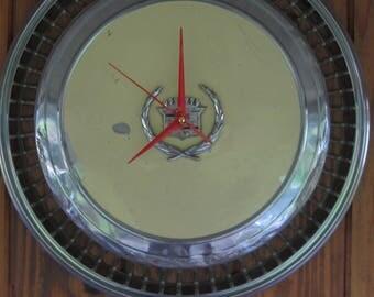 Yellow Fleetwood Cadillac Hubcap Clock