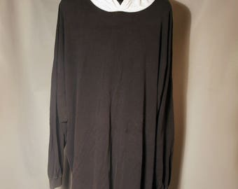 90s Black Long Sleeve Tee Heather Gray Hood Hoodie Sz 3XL XXXL Big & Tall Oversize Baggy Micheal K Activewear Made USA Grunge Streetwear