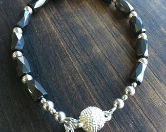 Sterling Silver I LOVE YOU Charm and Hematite Bracelet