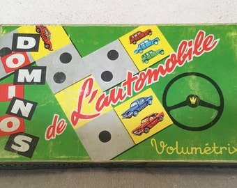 Automotive Volumetrix dominoes game - french vintage domino board game car