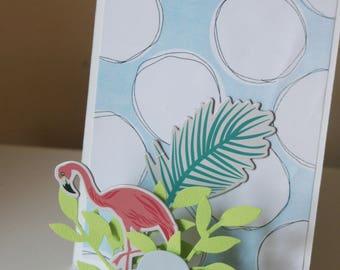 Pink Flamingo pop-up card