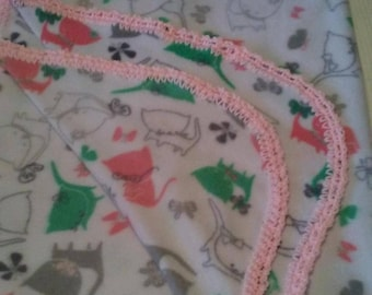 Soft Cartoon Kittens / Cats Child or Baby Blanket With Hand-Made Light Pink Crochet Trim