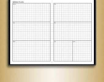 Undated WEEKLY planner printable inserts #U-WRW2 (field notes inserts, midori pocket inserts, travelers notebook)