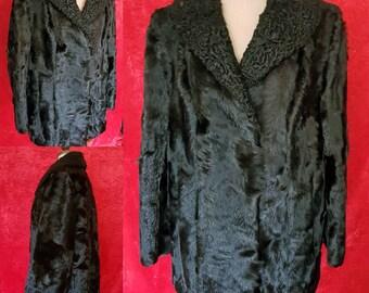 SALE Vintage Broadtail Lamb Fur Coat. Vintage Black Fur Jacket.  Persian Lamb Fur Coat. Black Persian Lamb Jacket. Black Broadtail Jacket